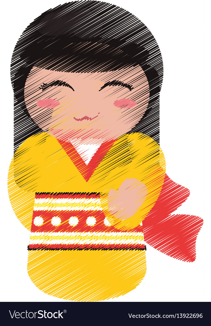Drawing kokeshi doll geisha decorative vector image