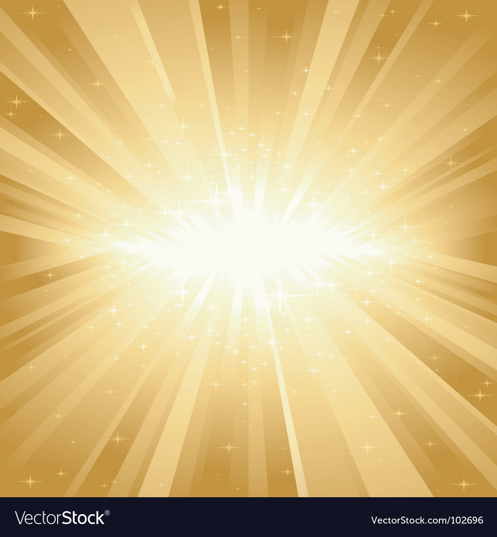 Golden light burst with stars