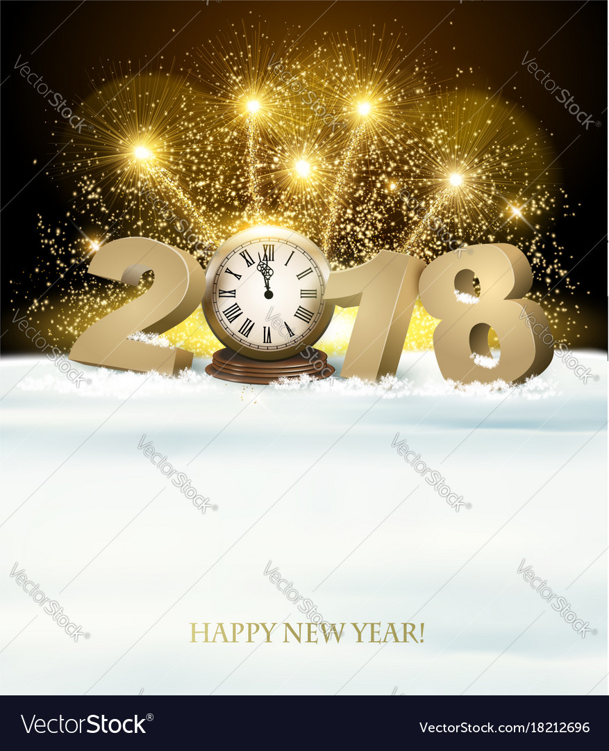 Happy new year background with 2018 and fireworks