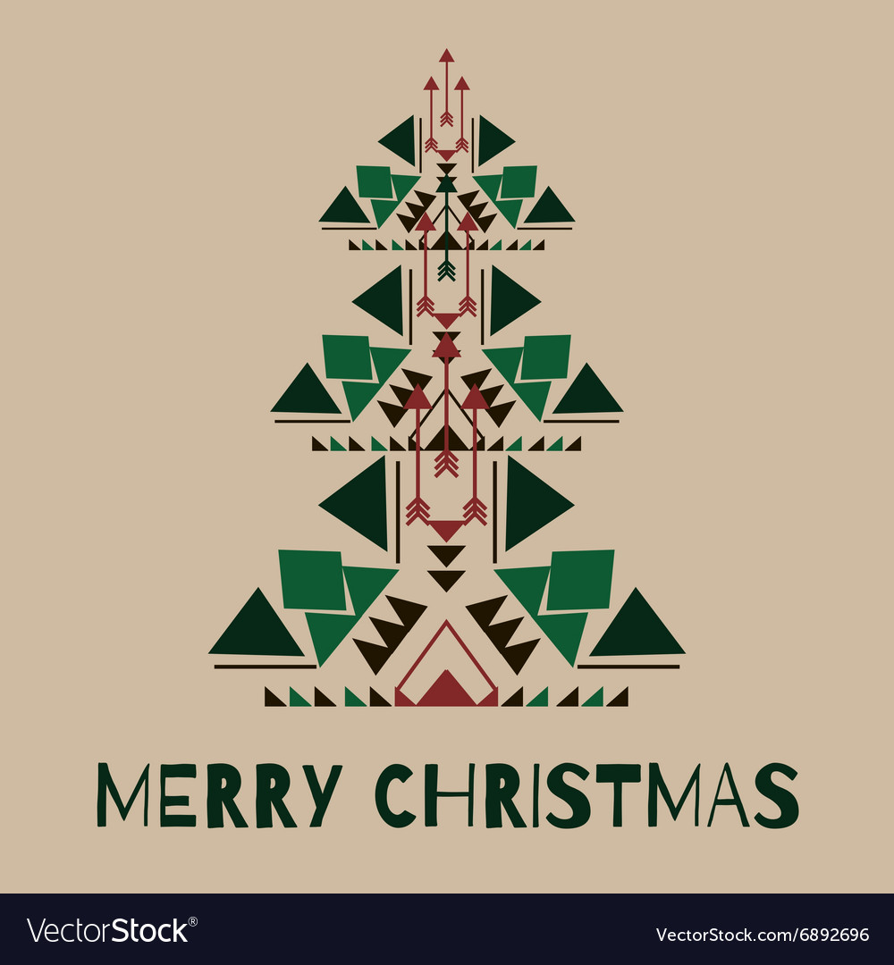 hipster christmas tree in tribal style royalty free vector