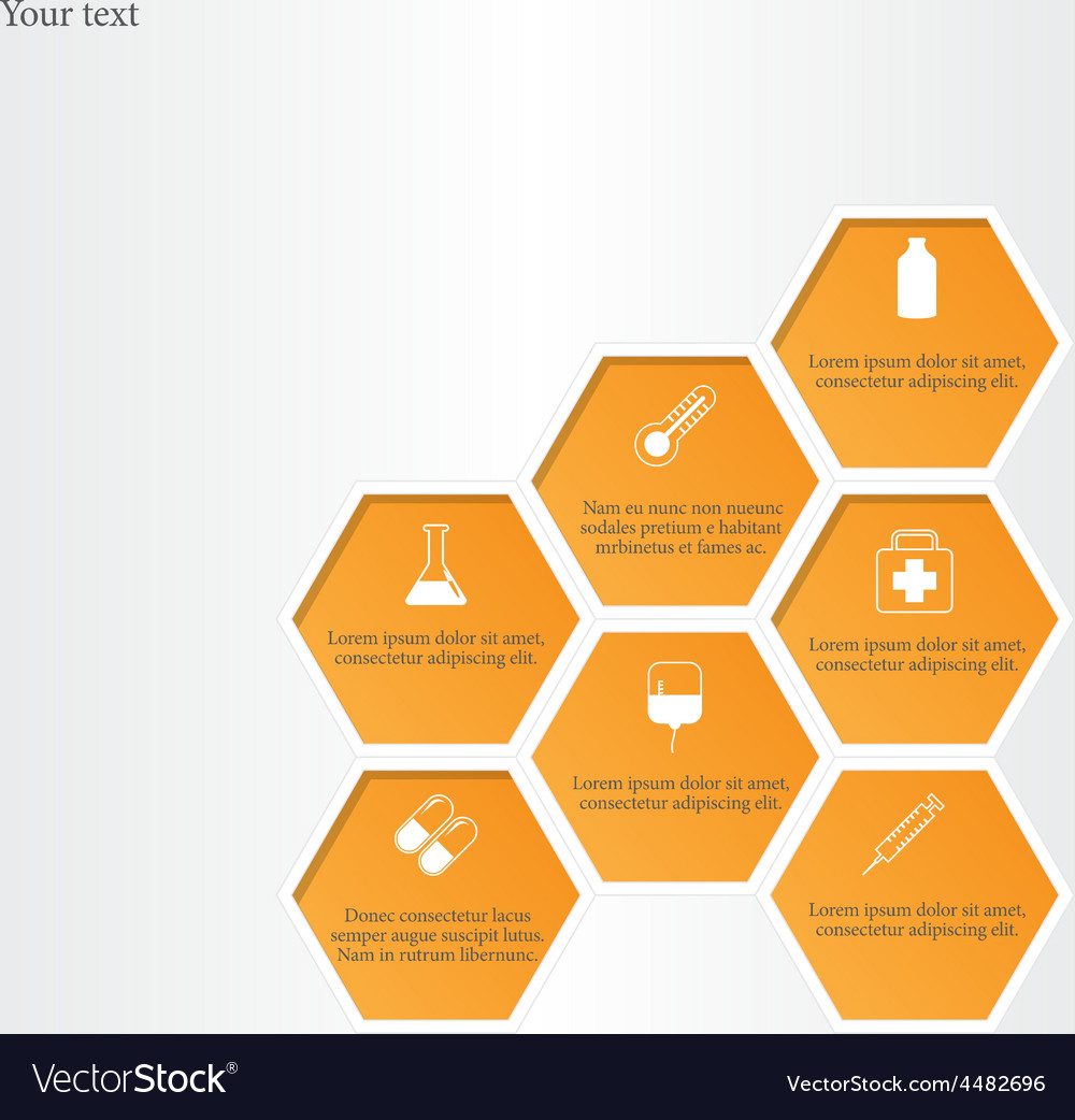 Honeycomb with medical flat icons