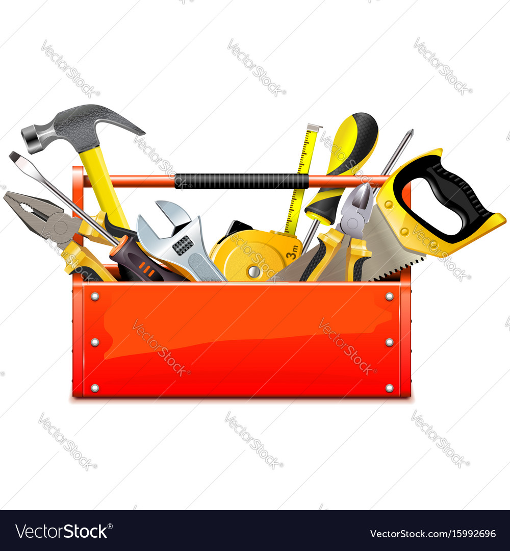 Red toolbox with hand tools
