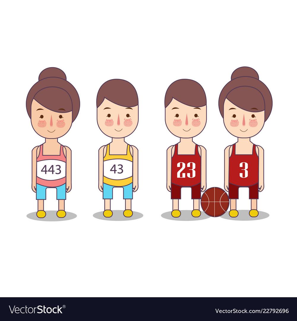 Runner Sports Basketball Funny Cartoon Character Vector Image