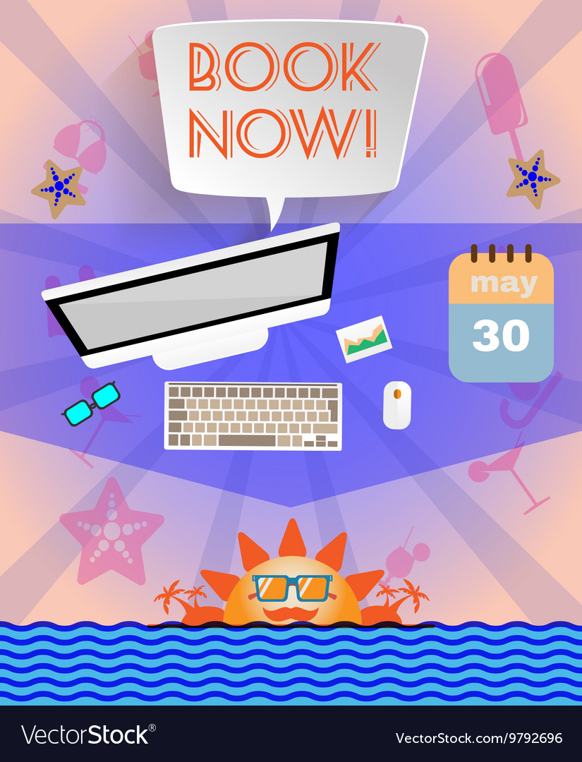 Summer time purple infographic with book now text