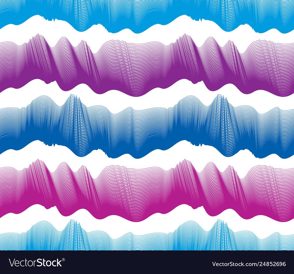 Waves seamless pattern water runny curve lines