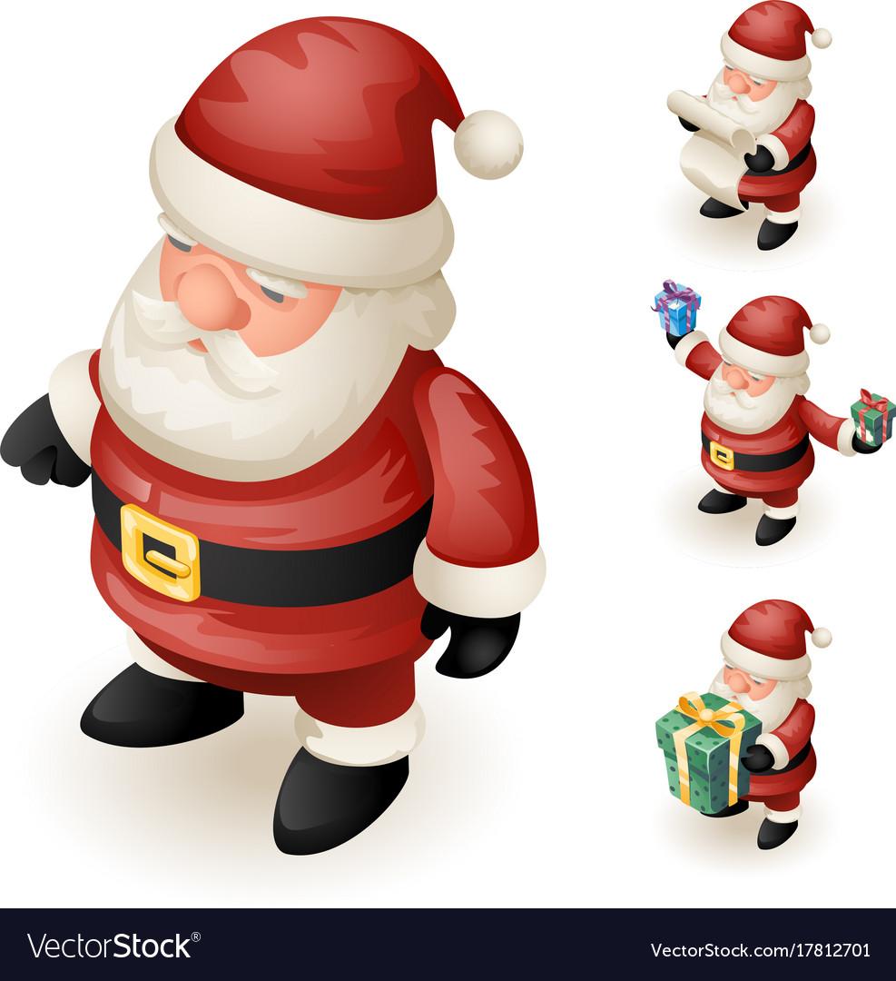 3d santa claus grandfather frost hold gift box vector image