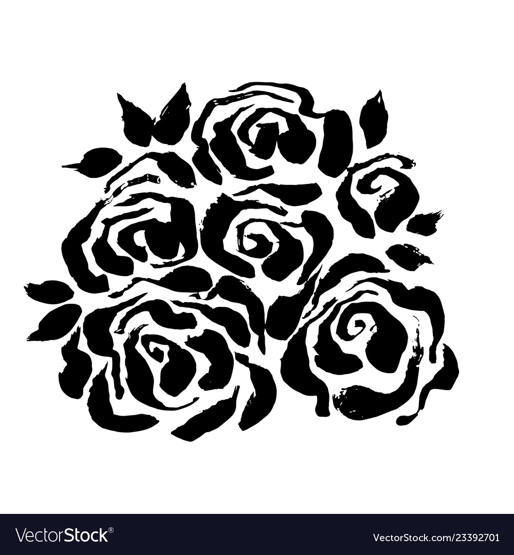 Abstract Grunge Ink Flower Background Roses Black