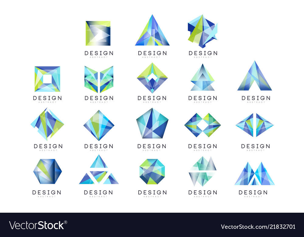 Abstract logo design set crystal gem geometric