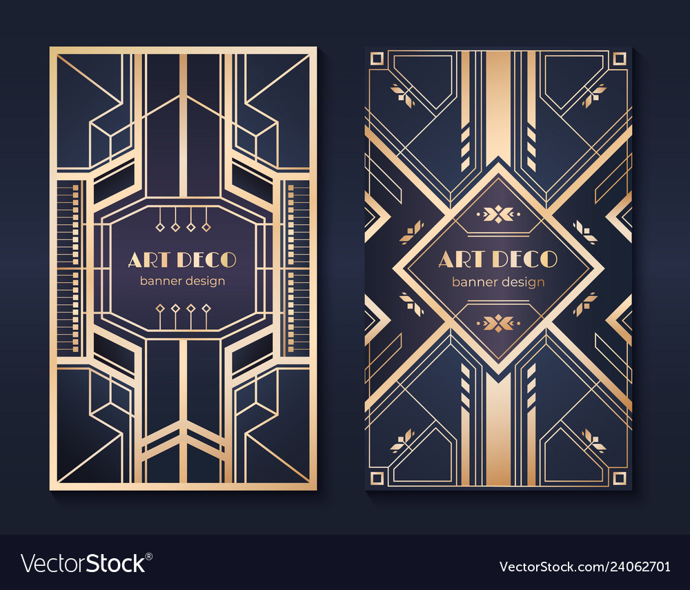 Art deco banners 1920s party invitation flyer
