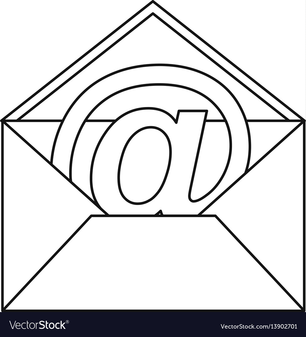 At sign mail in envelope icon outline style