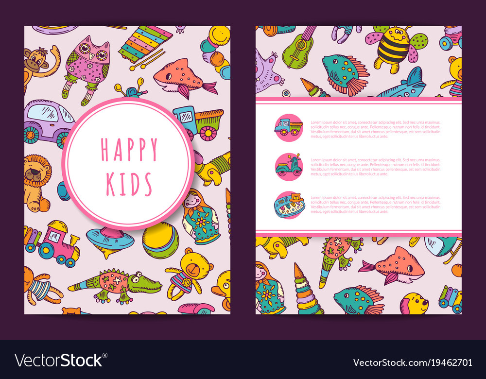 Card template hand drawn children toys on