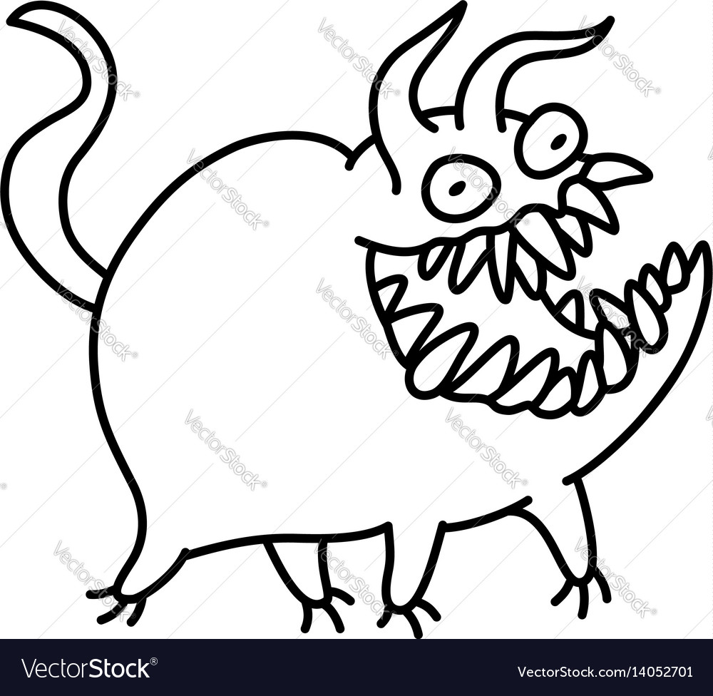 Cartoon monster smiles and runs vector image