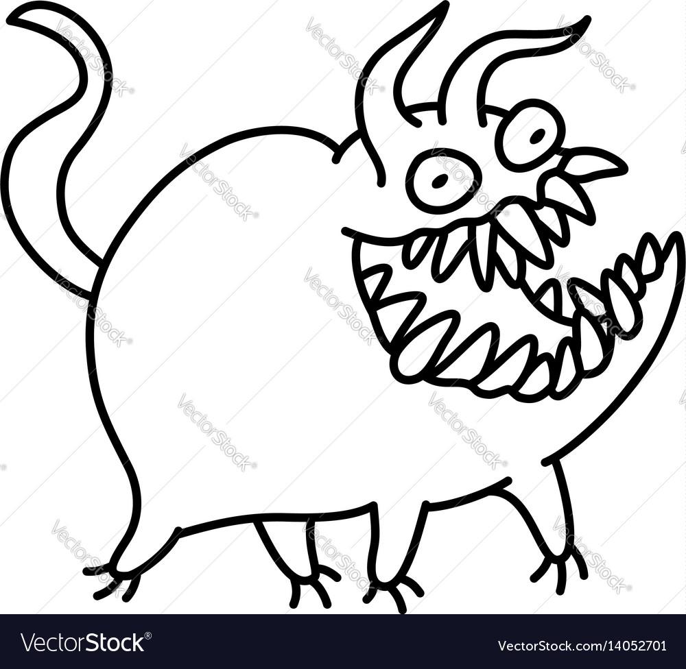 Cartoon monster smiles and runs