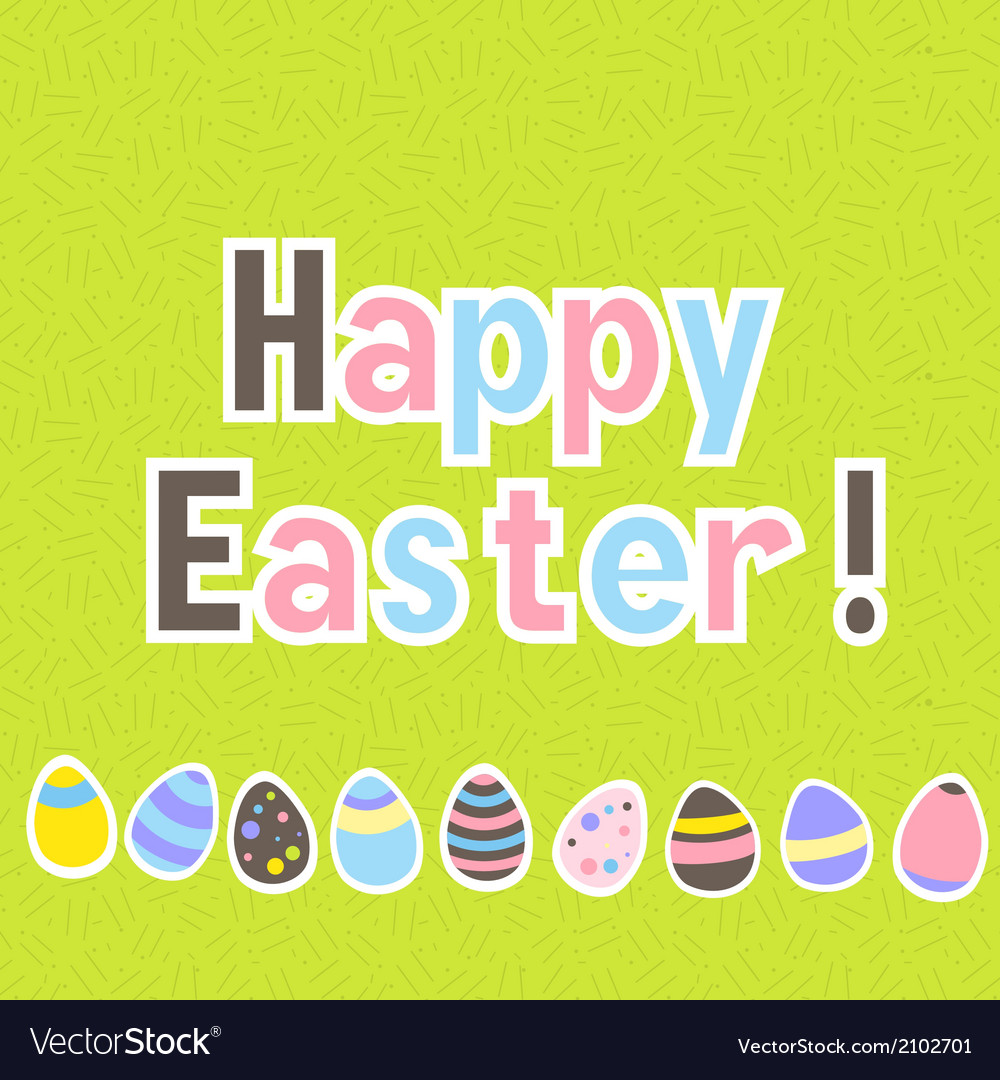 Easter colorful green greeting card vector image