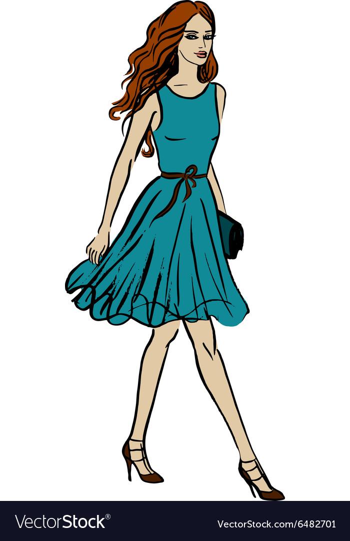 Fashion of walking woman vector image