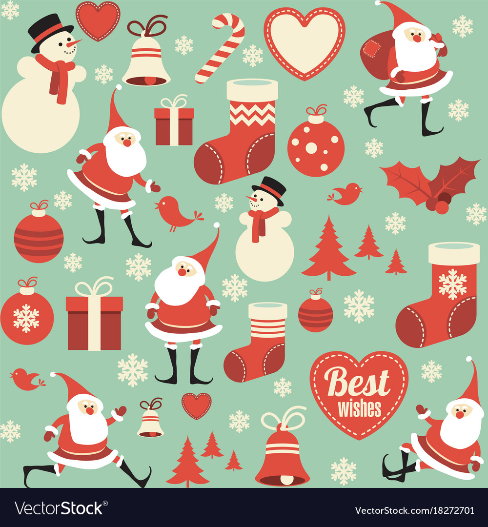 Flat design christmas seamless pattern