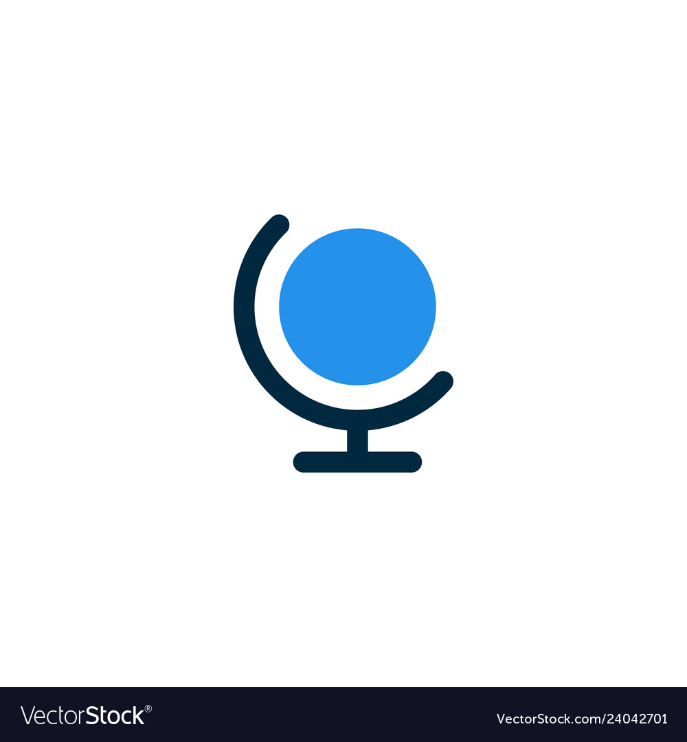 Globe earth logo icon simple flat line
