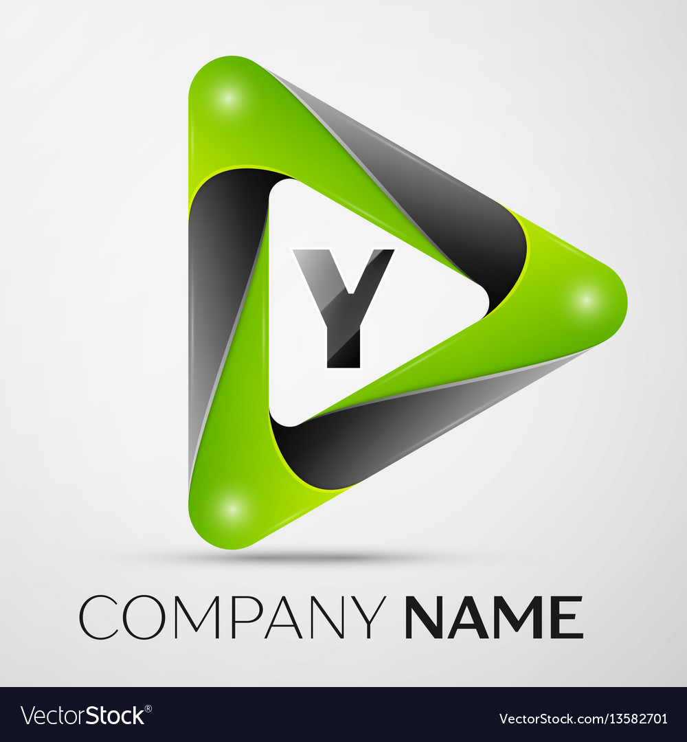 Letter y logo symbol in the colorful triangle on