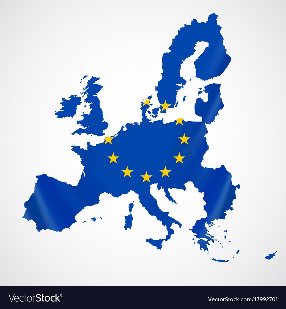 Map of european union and eu flag