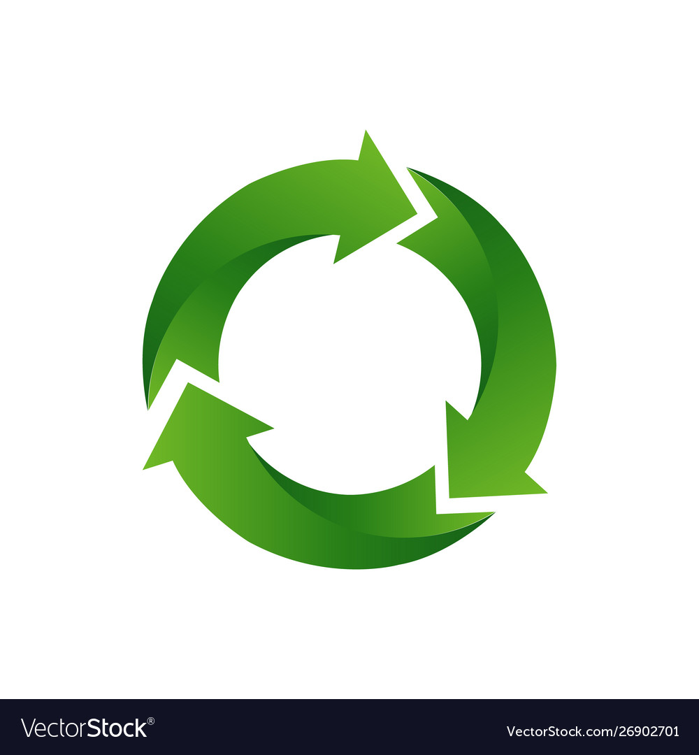 Recycle arrow symbol means using recycled