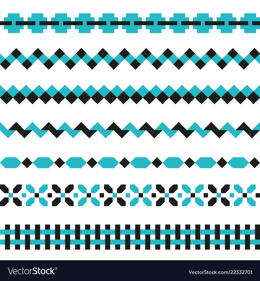Set of geometric borders in two colors