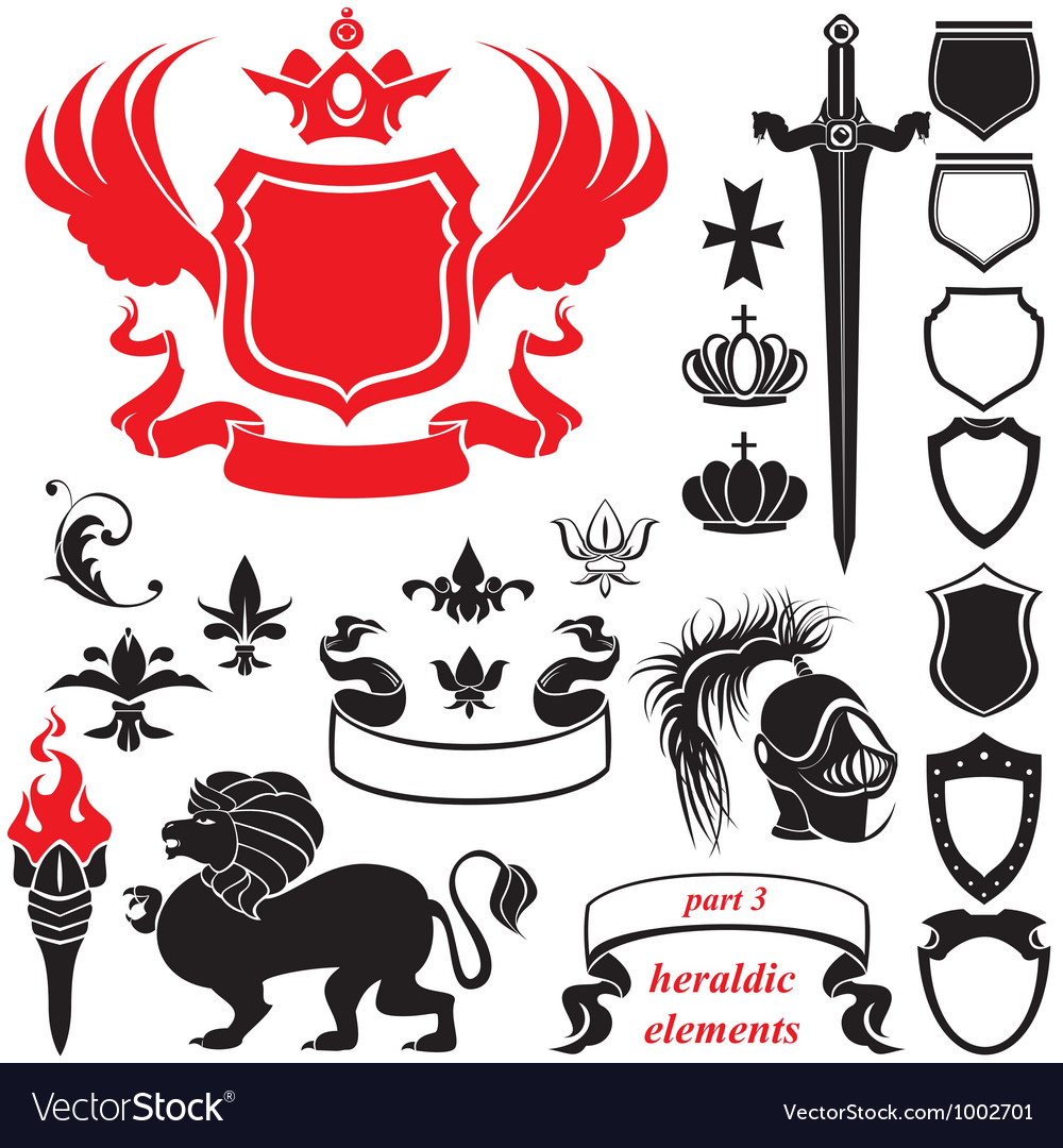Set of heraldic silhouettes elements vector image