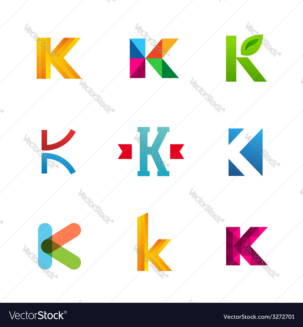 Set of letter K logo icons design template Vector Image