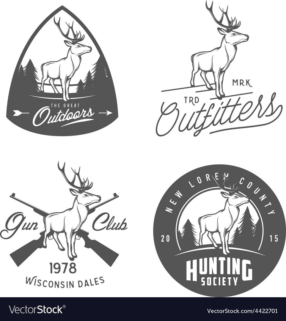 Set of vintage outdoors badges and design elements