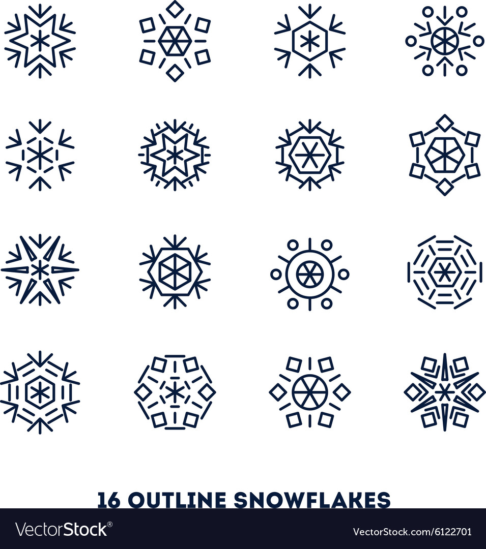 Snowflakes outline icons set for new year card
