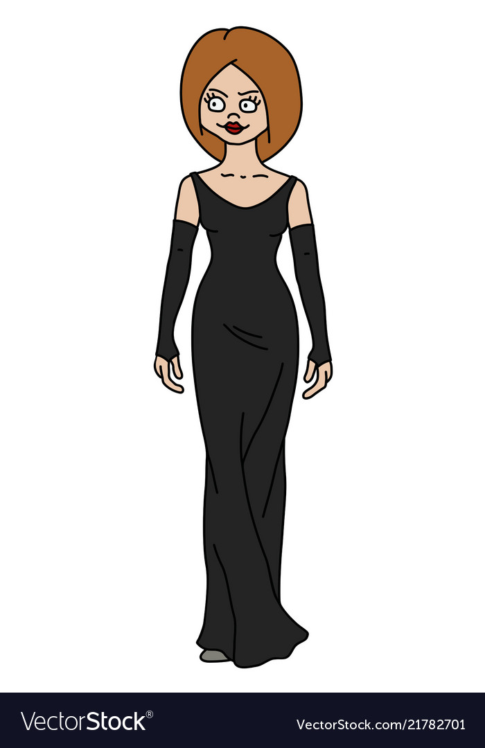 The Funny Redhead Woman In A Black Dress Vector Image