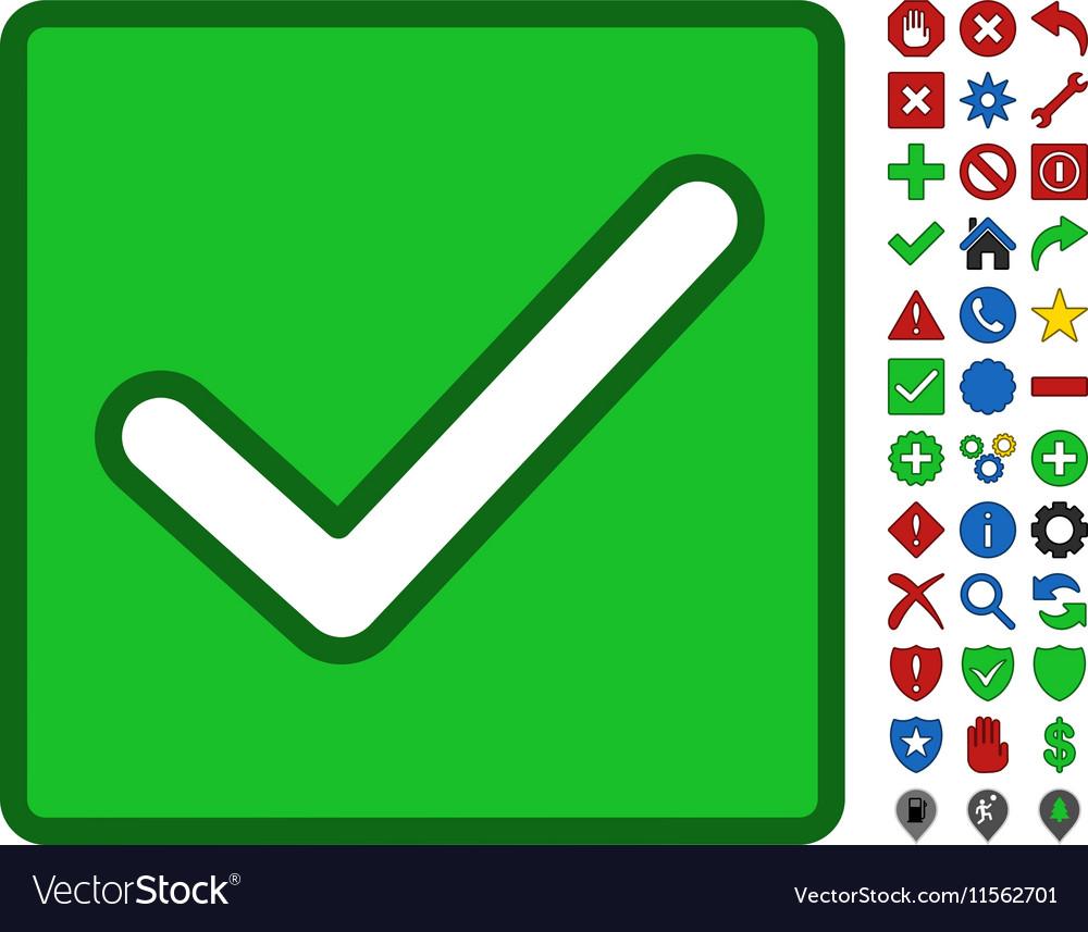 Valid Checkbox Symbol With Toolbar Icon Set