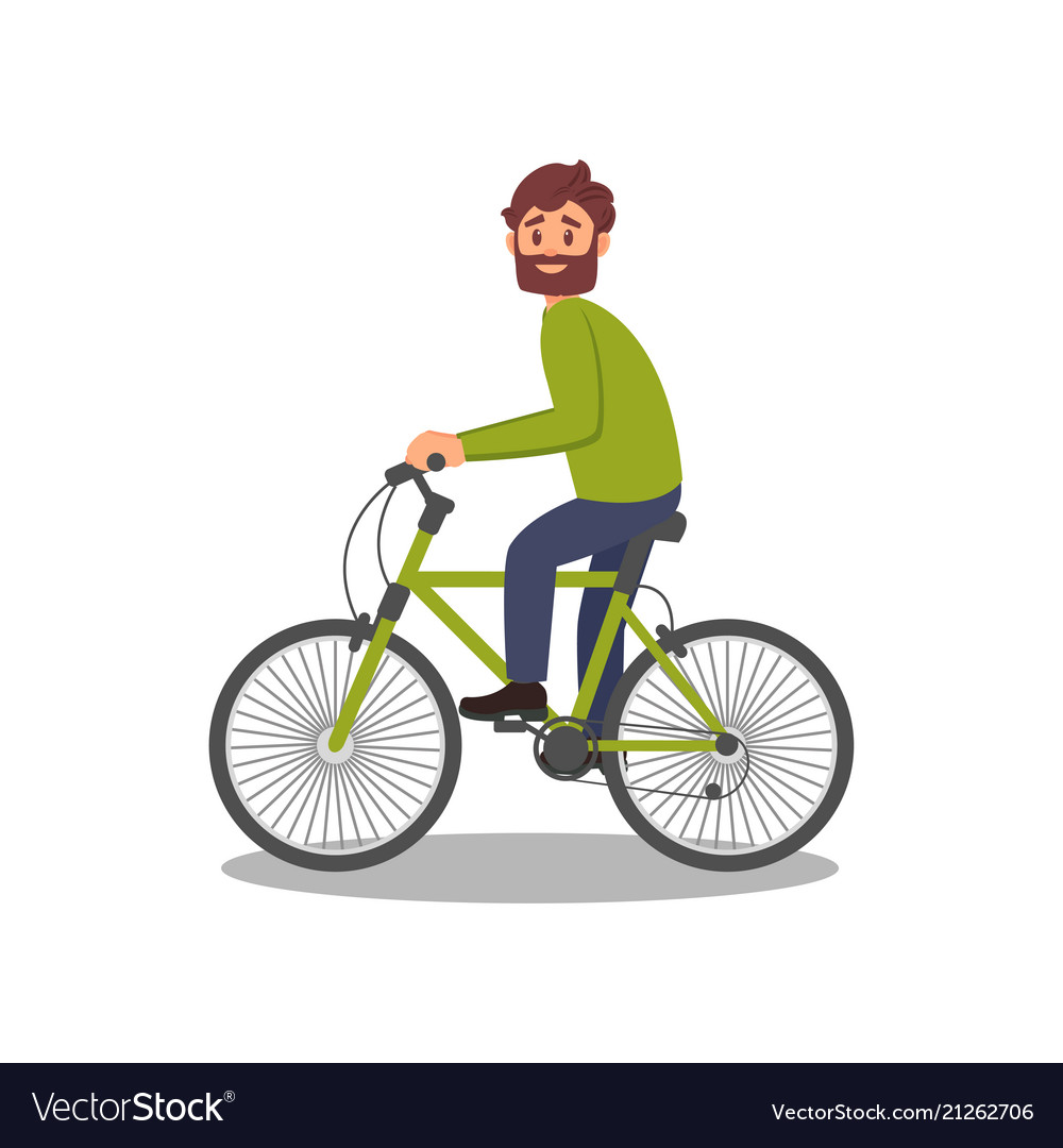 16c5a6401a1f Bearded man riding bicycle healthy and active Vector Image