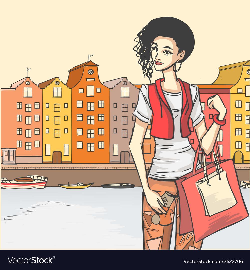 Beautyful girl shoppping