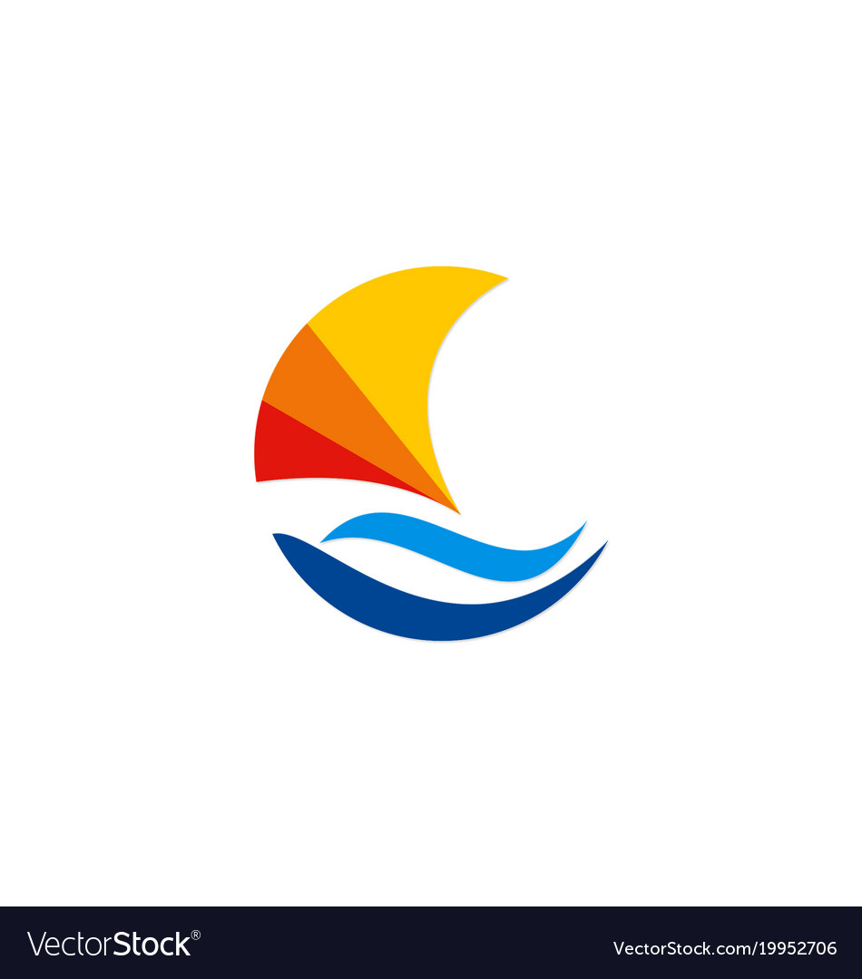 Boat abstract colorful logo