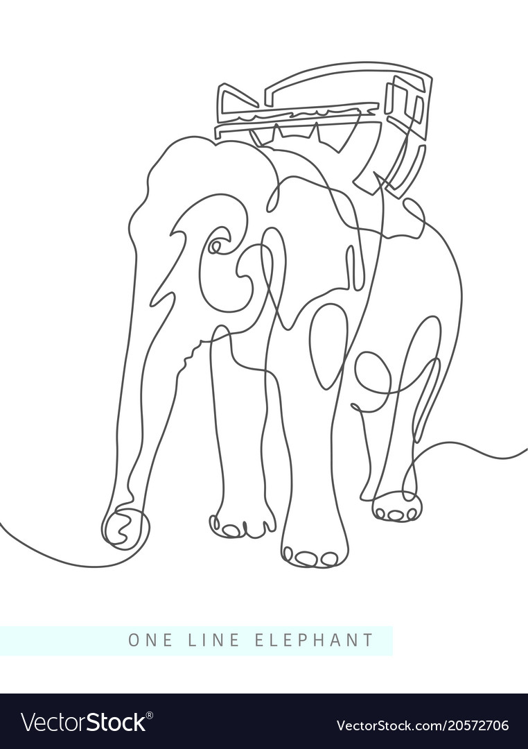 Continuous one line drawing of indian elephant