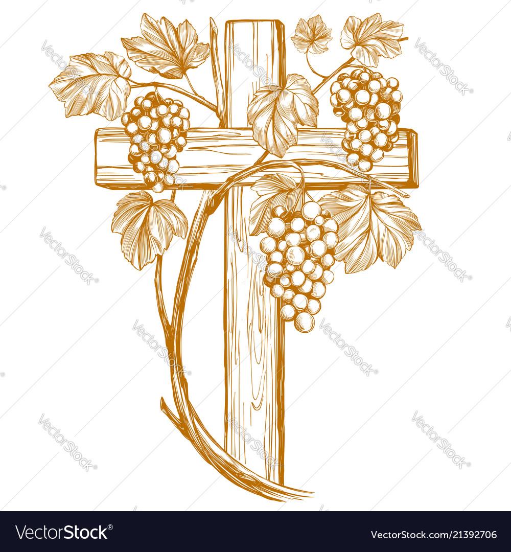 Cross and grape vine grape easter symbol of