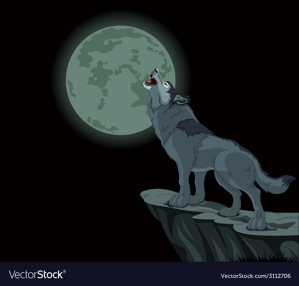 Волк воет на луну картинка детская
