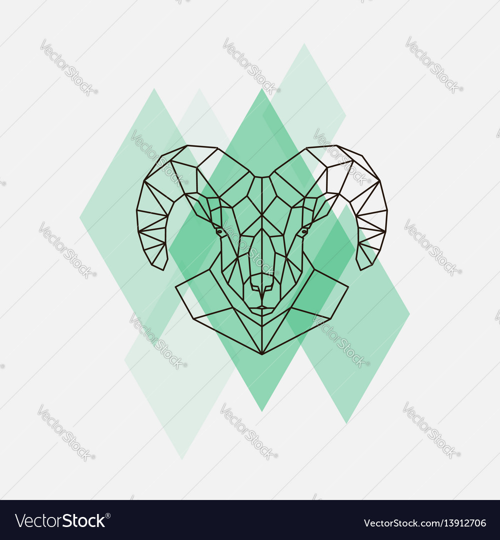 Mountain sheep head geometric lines silhouette vector image