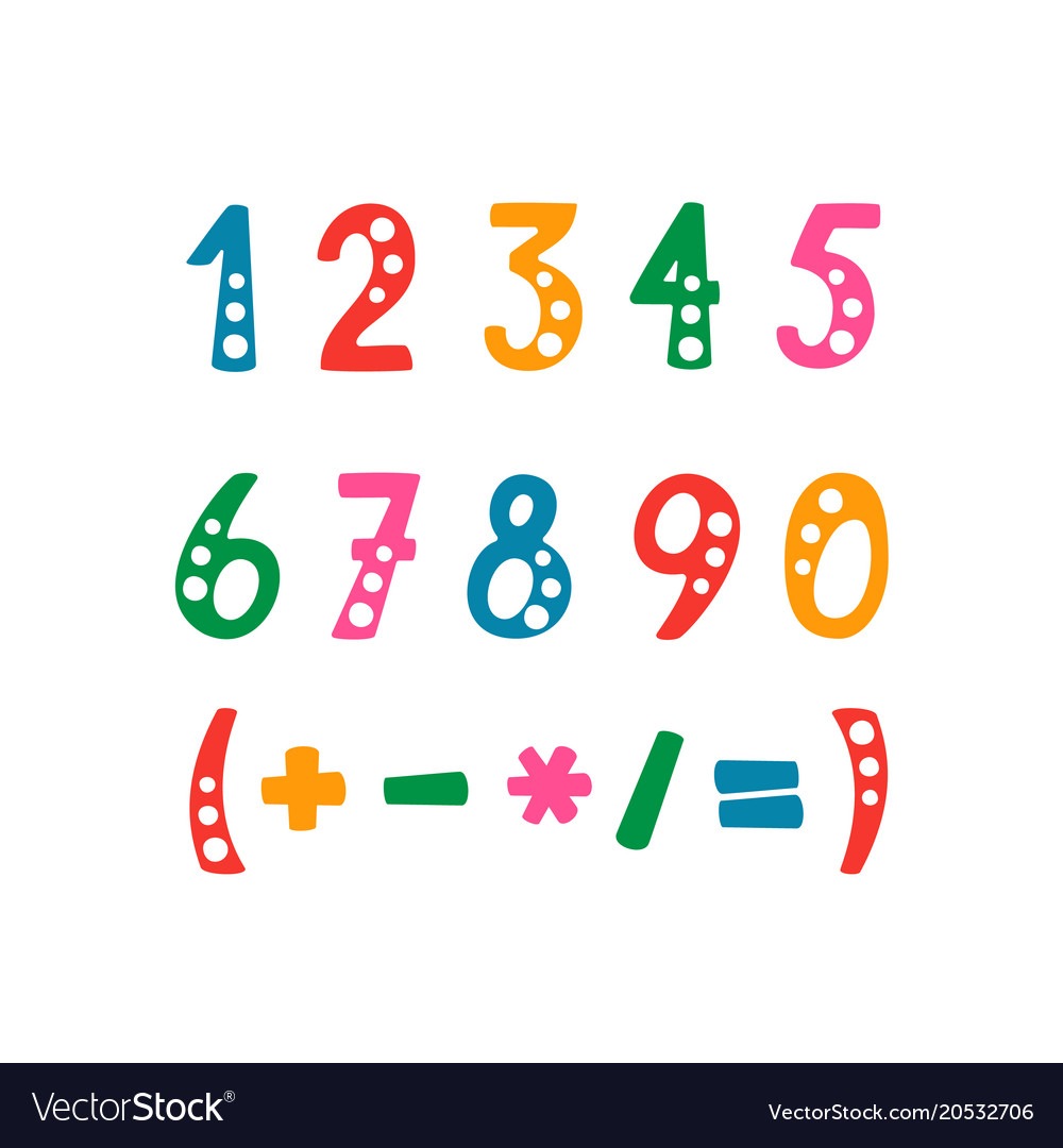 Set Of Numbers And Mathematical Symbols Royalty Free Vector
