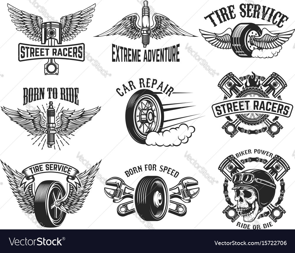 Set of tire service car repair labels design