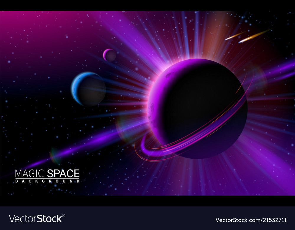 Abstract space background with stars and moon