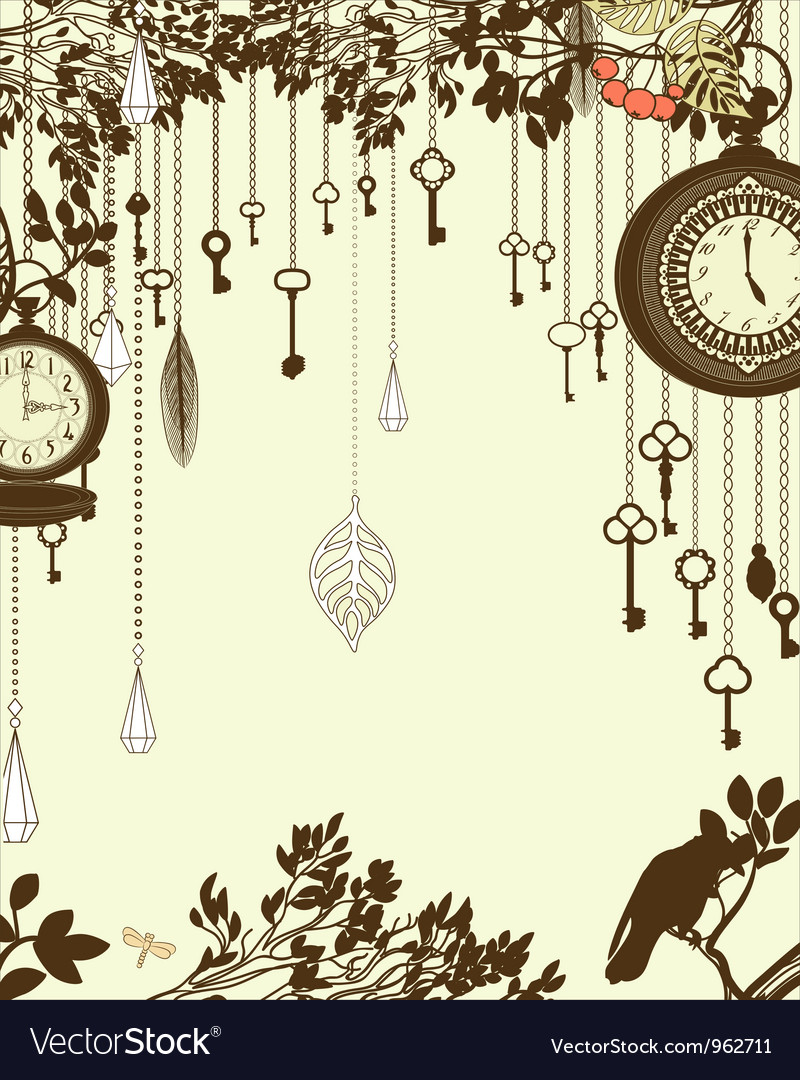 Clock and keys vintage vector image