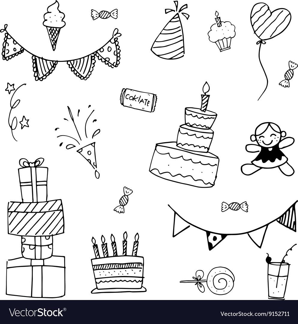 Doodle art birthday for kids