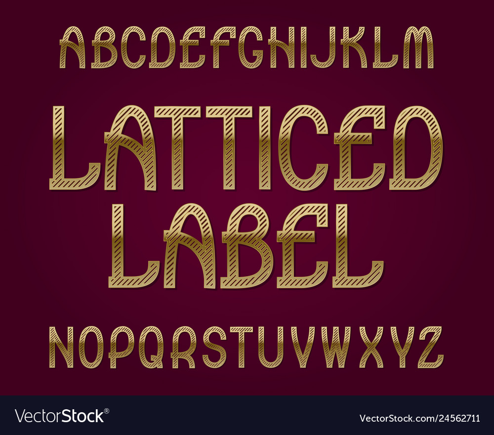 Latticed label typeface golden font isolated