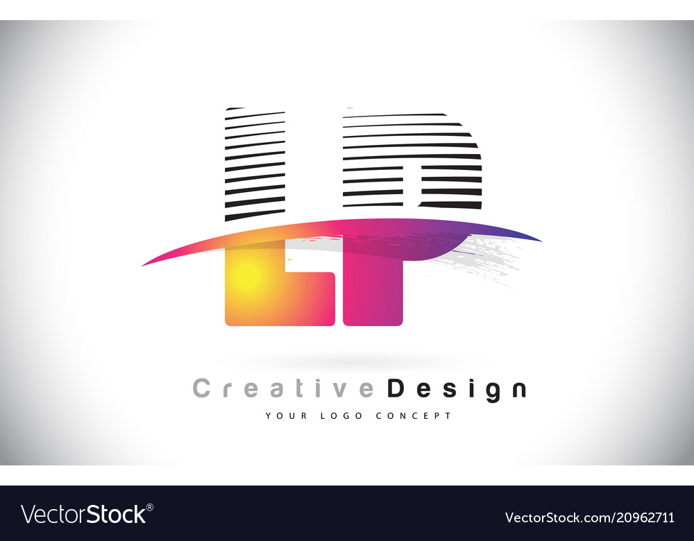 Lp l p letter logo design with creative lines and