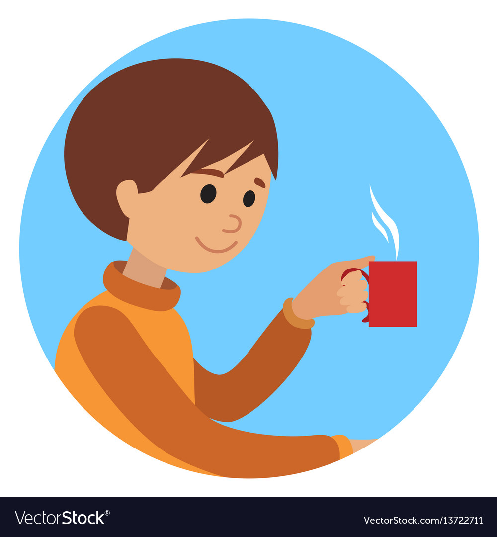 Man with cup in his hand drinking hot coffee