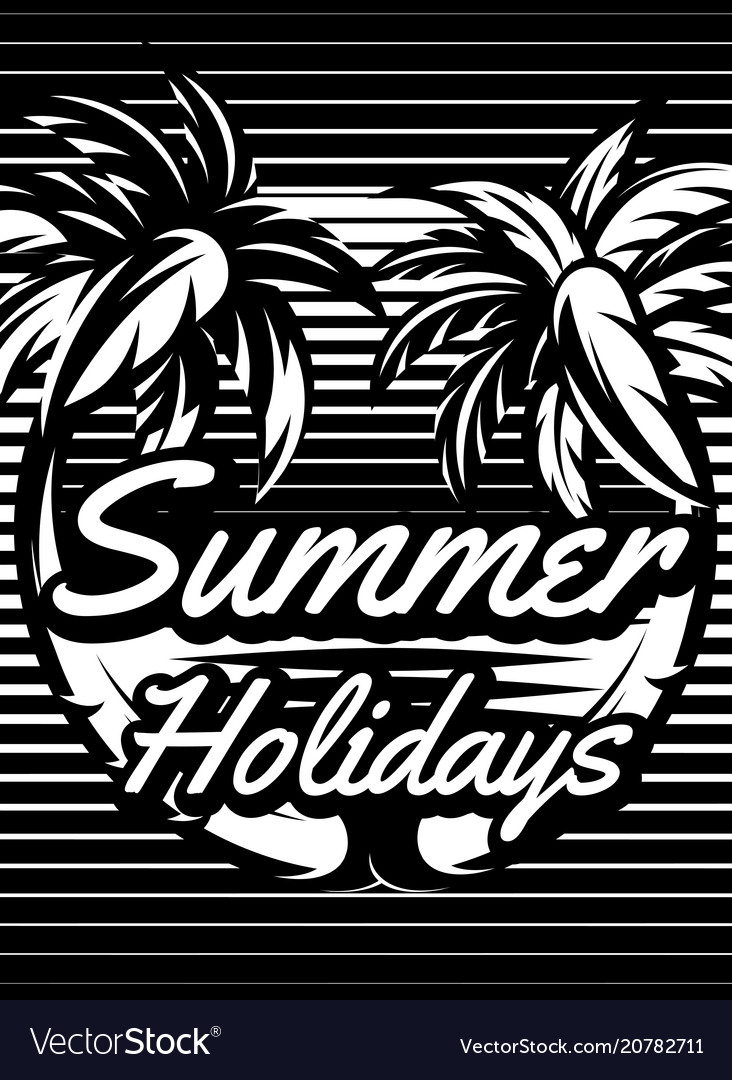 Monochrome retro poster with palm trees to