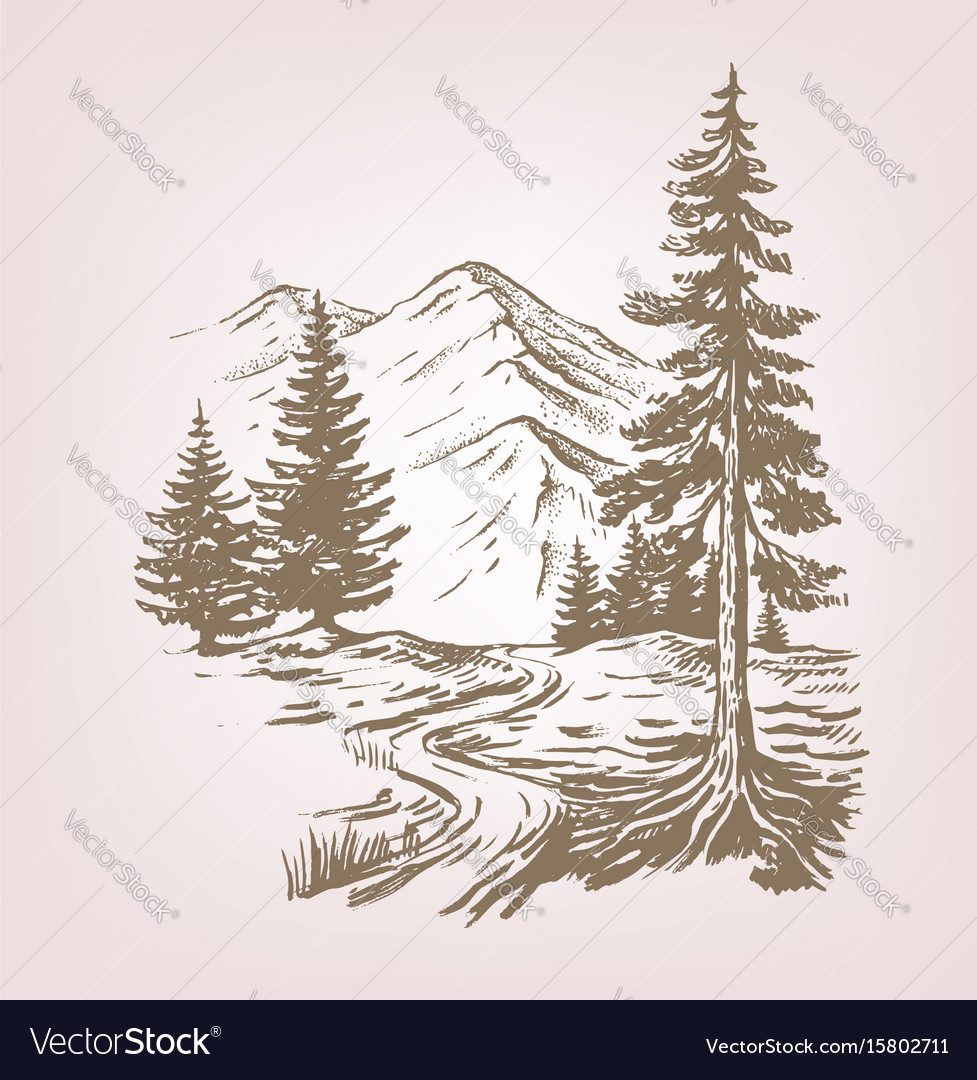 Mountain landscape with cabin vector image