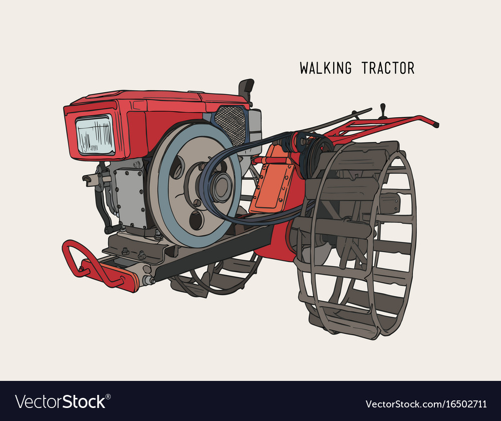 Plows machine - walking tractor hand draw sketch vector image