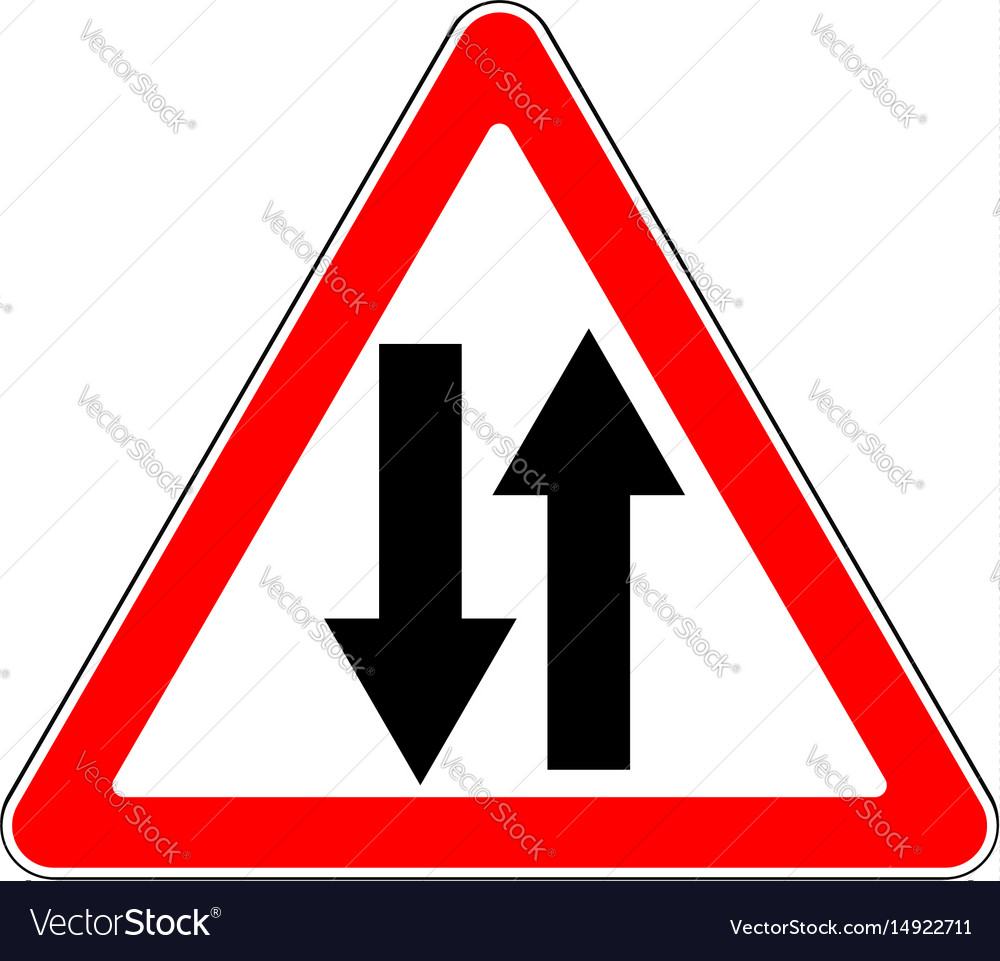 Two-way traffic straight ahead sign | RTS135 | Label Source |Two Way Traffic Ahead Sign